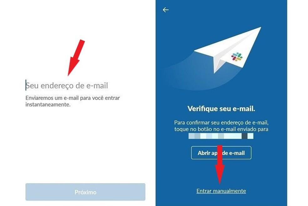 استخدم بريدك الإلكتروني للوصول إلى مكان عمل Slack Photo: Reproduo / Maria Dias
