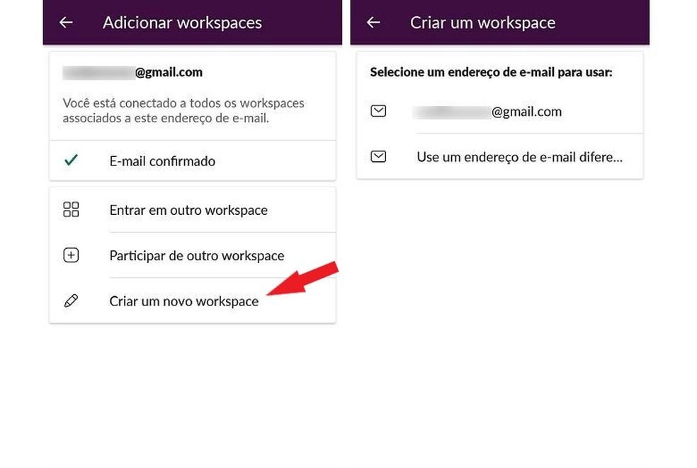 قم بتوفير عنوان بريد إلكتروني لربطه بمكان عملك الجديد في Slack Photo: Reproduo / Maria Dias