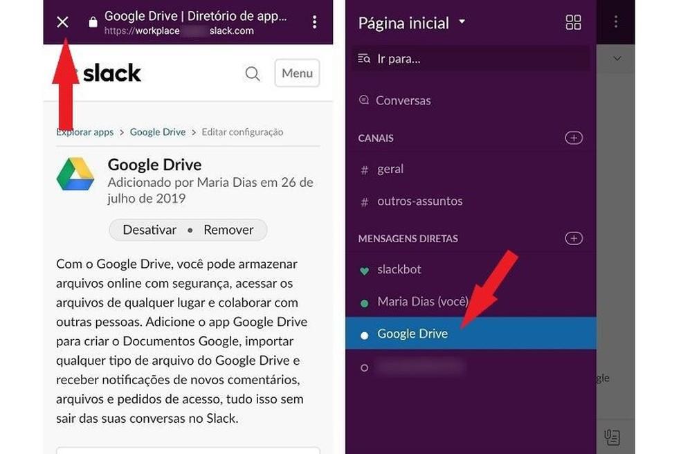أغلق النافذة للعودة إلى Slack والوصول إلى التطبيق المثبت في القائمة الجانبية Photo: Reproduo / Maria Dias