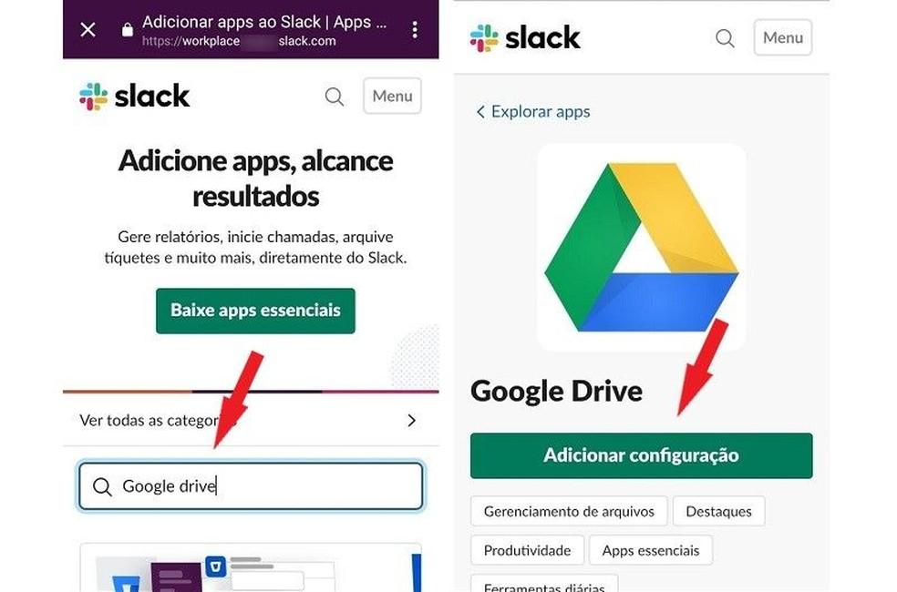 ابحث عن الأداة المطلوبة لإضافتها إلى مكان العمل Slack Photo: Reproduo / Maria Dias