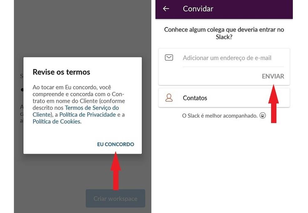 عرض شروط استخدام Slack ودعوة الآخرين لإدخال مكان عملك الجديد Photo: Reproduo / Maria Dias