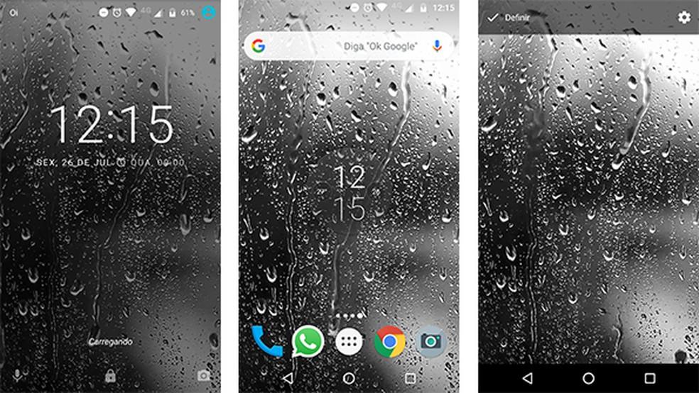 يعرض تطبيق Raindrops Live Wallpaper HD 8 رسومًا متحركة محيطة بقطرات المطر Photo: Reproduo / Gabriel Santos