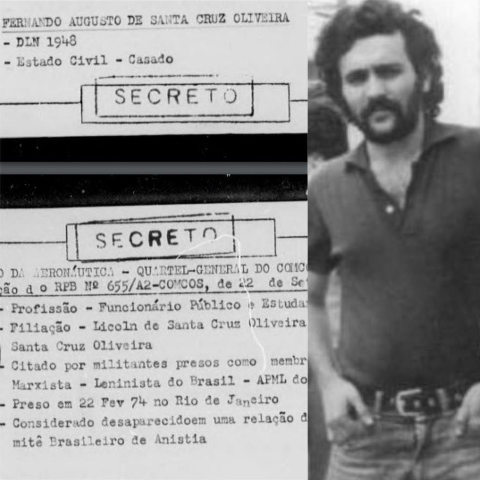 والد رئيس OAB ، فرناندو سانتا كروز ، الذي يعتبر السياسي المفقود من قبل لجنة الحقيقة الوطنية Photo: Arte: National Truth Commission and National Archive