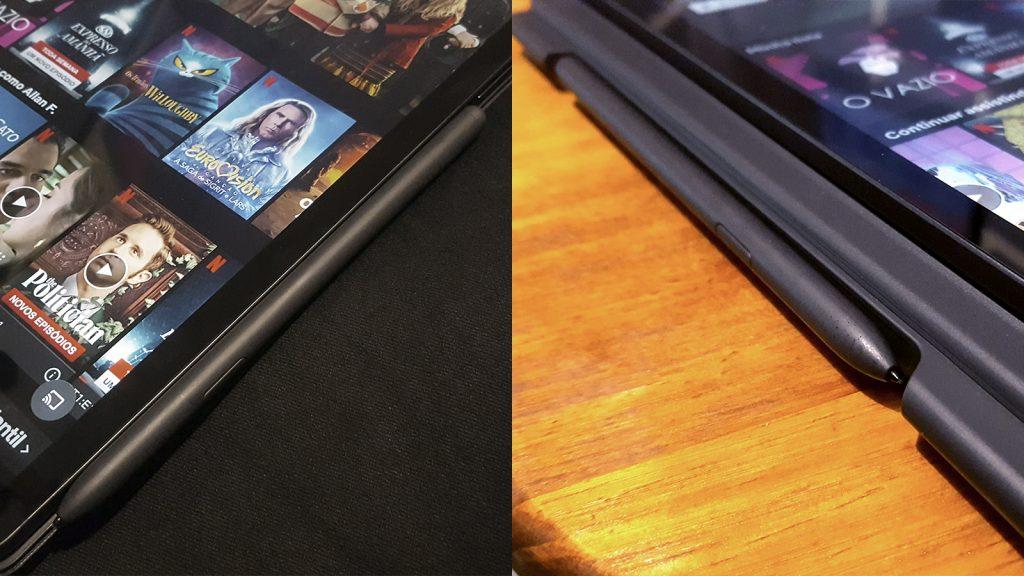 قلم سامسونج S6 لايت S Pen التفاصيل على الغلاف ، في موقعين مختلفين