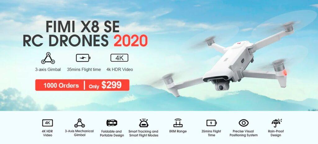 PROMOÇÃO: Drone FIMI X8 SE (2020) - 4K, 35 min de voo, GPS, 8Km e mais
